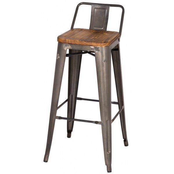 Low Back Barstool Wood Seat Cabin Ideas Metal Bar