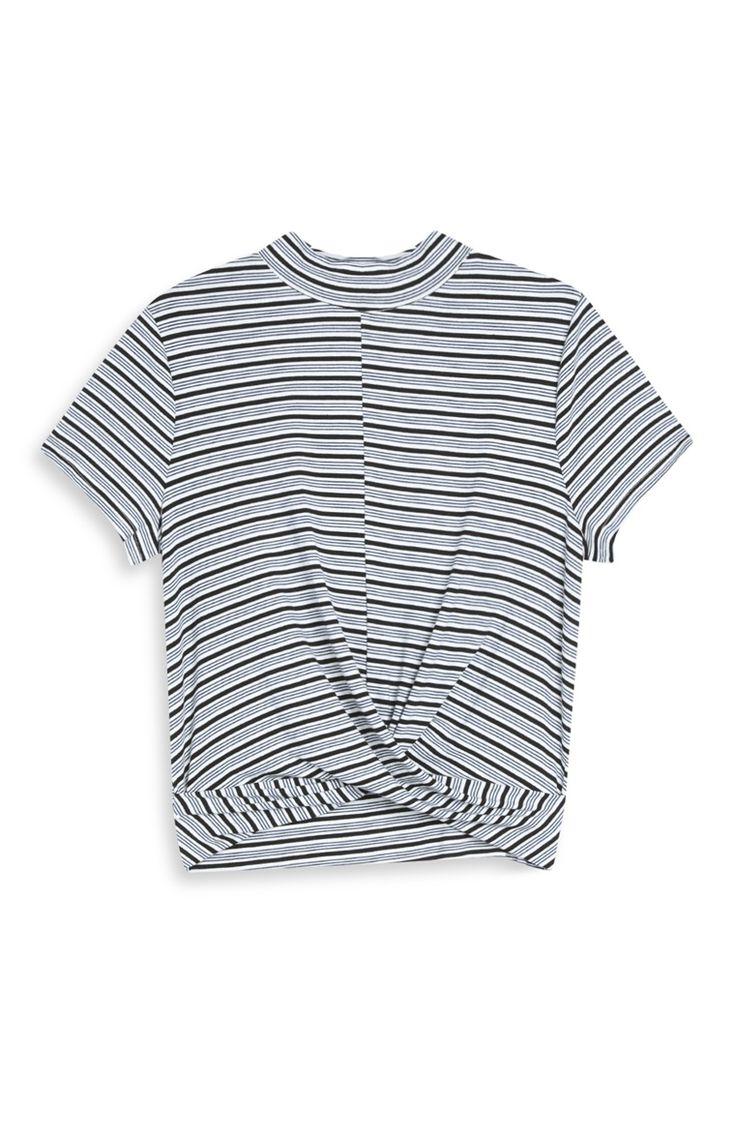 Primark - Black Striped Twist-Front Top