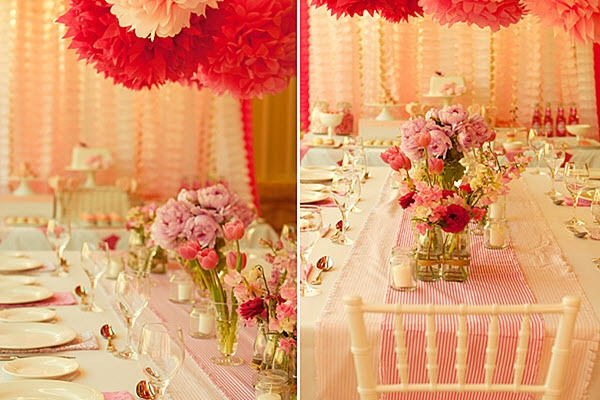 """""""Pink 'Girls Night In' For A Cause"""" party table decorations...pink table runners, place mats, and flowers...perfect."""