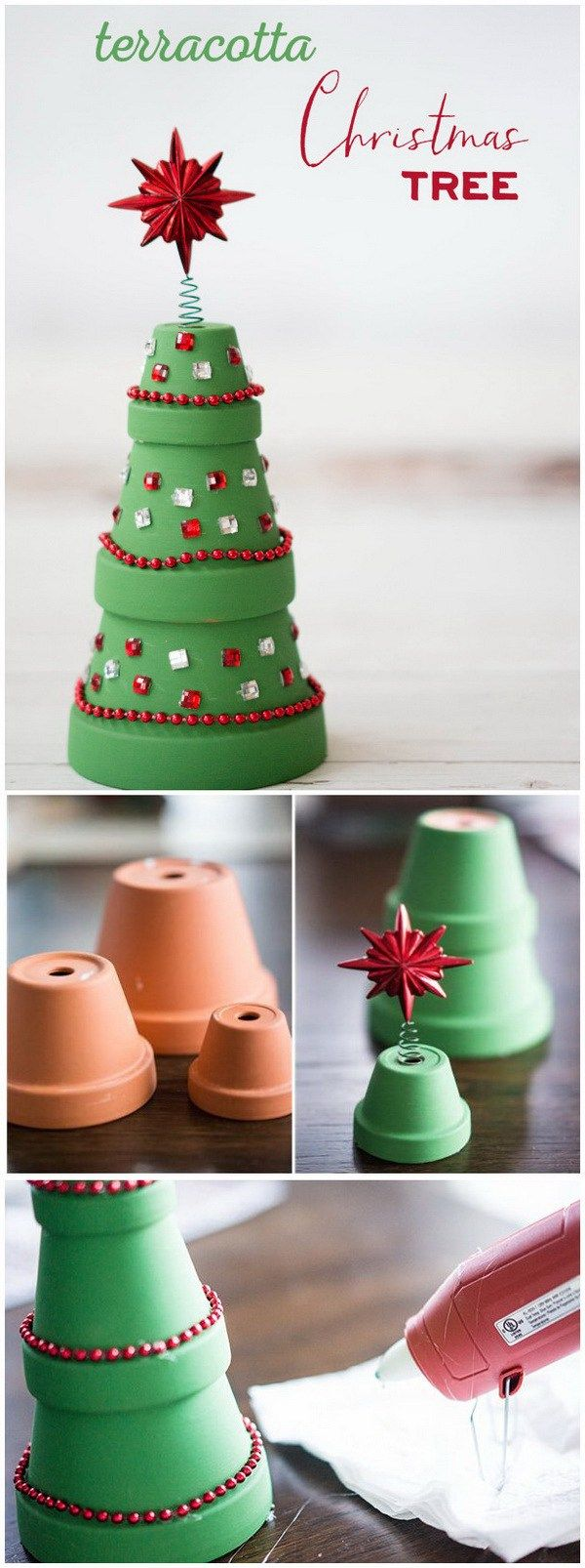 Terracotta Christmas Tree. This terra cotta pots Christmas tree is so adorable and so easy to make and perfect for decorating indoors or out this holiday season. It is a great holiday craft to get your kids involved in!