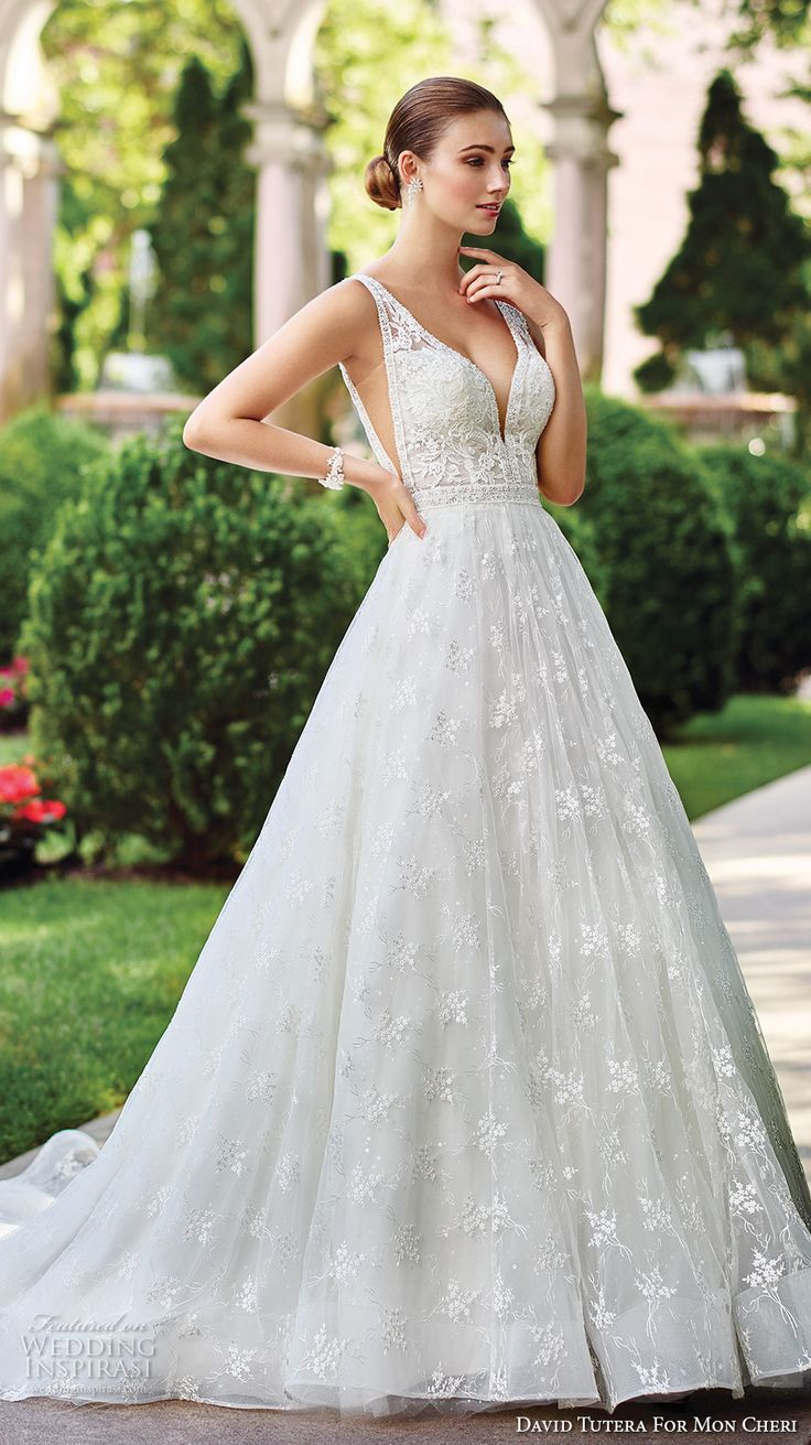 david tutera mc spring 2017 bridal sleeveless deep plunging v neck side open heavily embellished bodice sexy romantic a  line wedding dress open v back chapel train (117271) fv