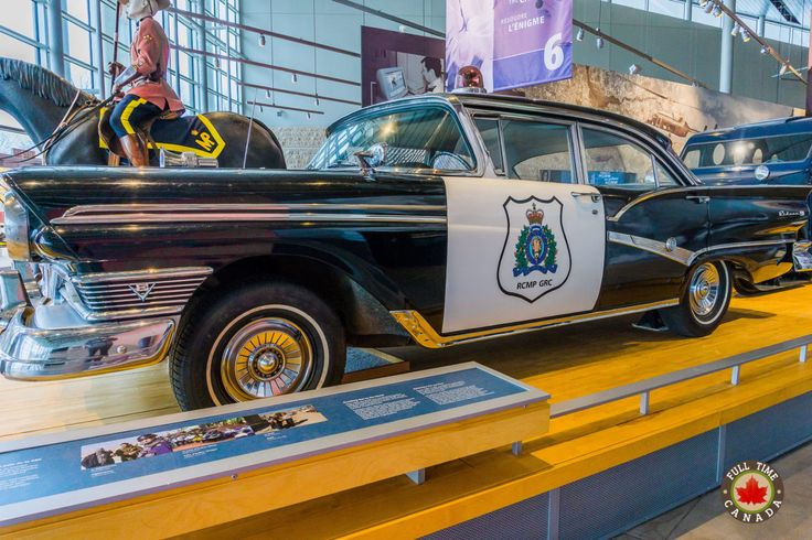 An old RCMP patrol car at the RCMP Heritage Center in Regina.