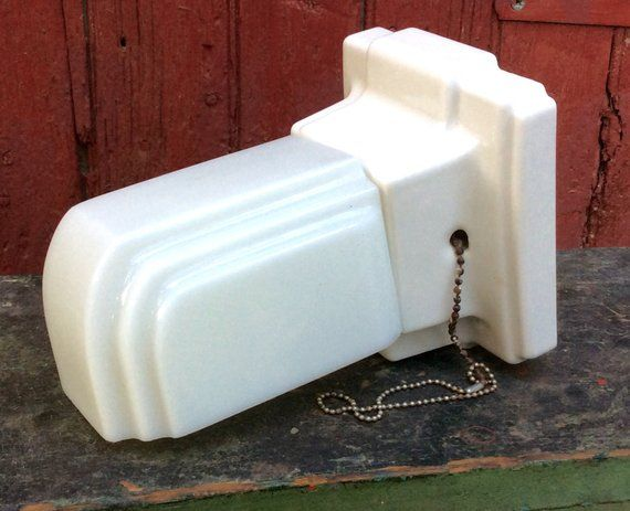 Milk Glass Bath Light: Art Deco Porcelain With Milk Glass Bathroom Wall Sconce