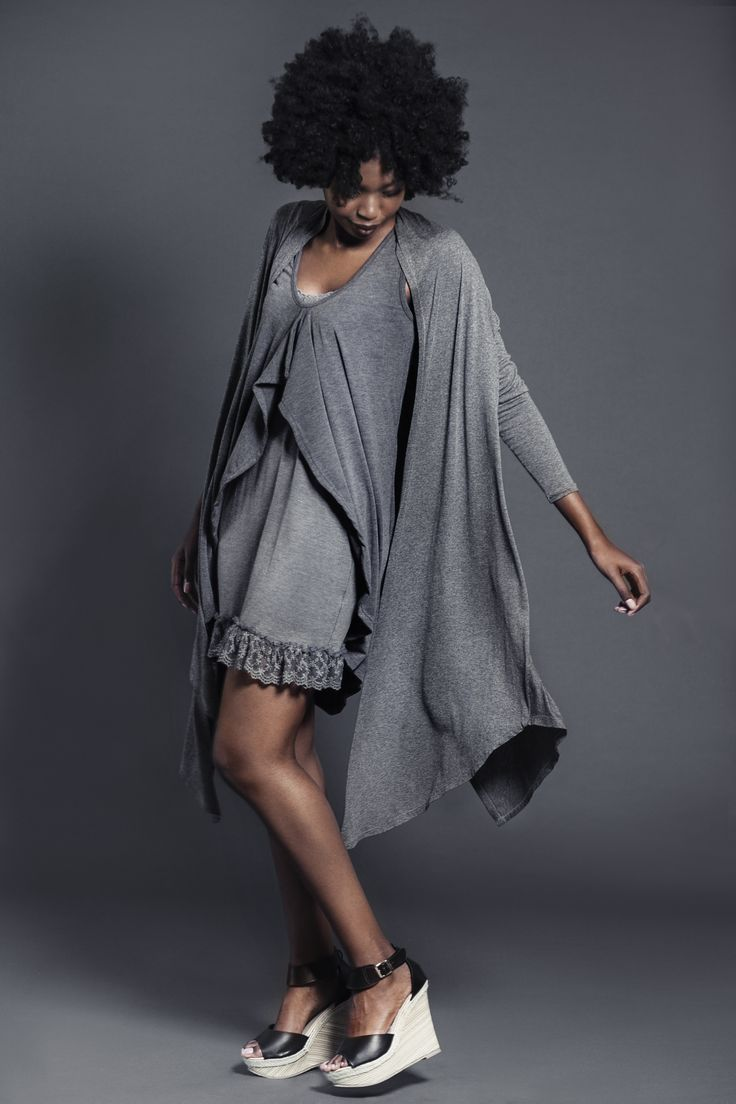 Ladies charcoal melange viscose cardigan over layer dress and slip with lace. For more information visit: https://www.facebook.com/pengellyclothing or https://www.pengelly.co.za