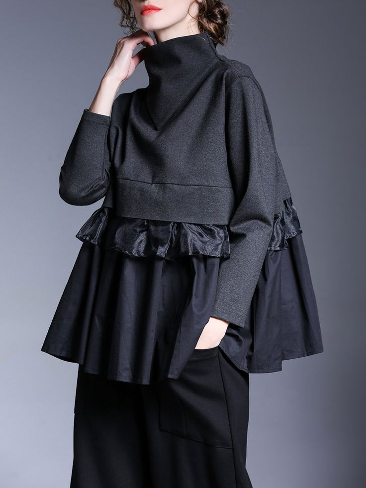 Miting Casual Loose Patchwork Solid Black Women Blouses