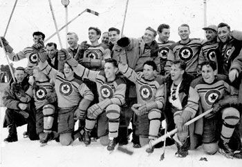 RCAF Flyers, Olympic Hockey, 1948 The Royal Canadian Air Force volunteered its athletes from across the country to participate on the Olympic hockey team. Hockey legends Georges Boucher and his son Frank whipped a lackluster group into a cohesive team, overcoming Czechoslovakia 3-0 to win gold on 8 Feb 1948 (courtesy Toronto Star Archives).