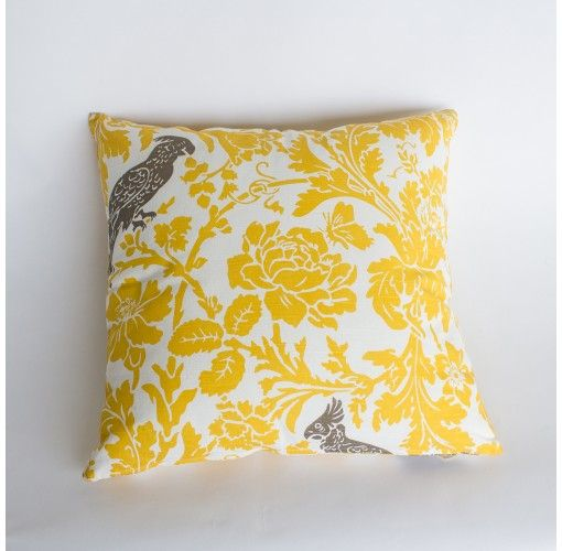 Birdie Cushion in Yellow -  Handmade in Noosa, these Plump Cushions come in a variety of colours and patterns to compliment any decor.