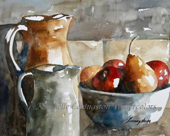 Still Life Painting Watercolor Painting Of Fruit Art Print Fruit Print ATC Fruit  Painting Fruit Traditional Cottage Chic Trading Card SMALL