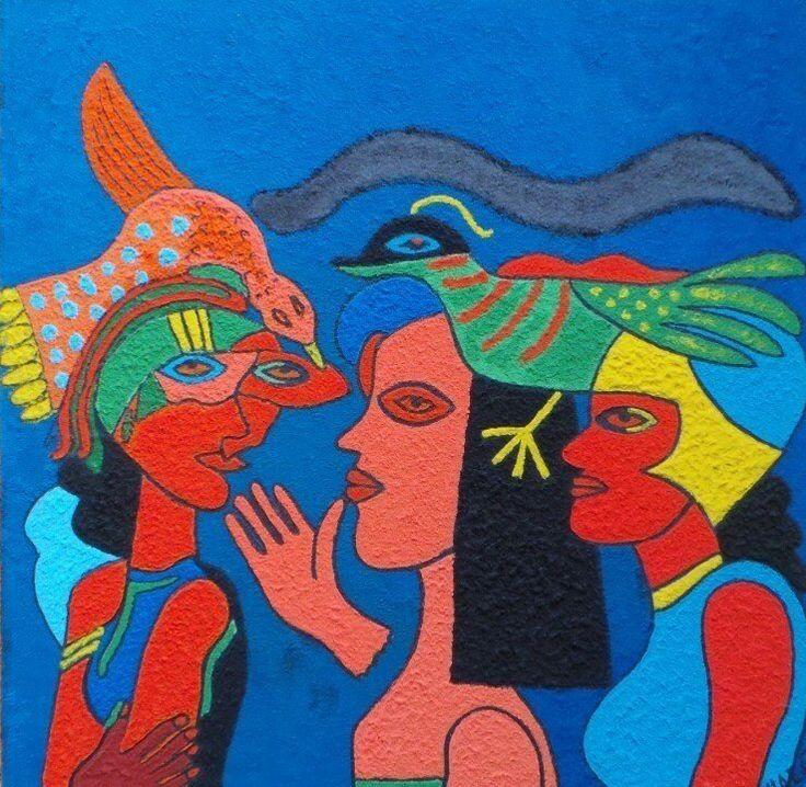 Schilderij de drie dames,80x80 3D zelf geschilderd!