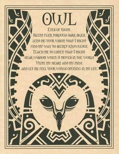 """Embracing the wisdom of the spirit, the Owl Poster depicts a poetic prayer to the totem spirit of the owl, within the upswept wings of a wondrous owl. 8 12"""" x 11""""."""