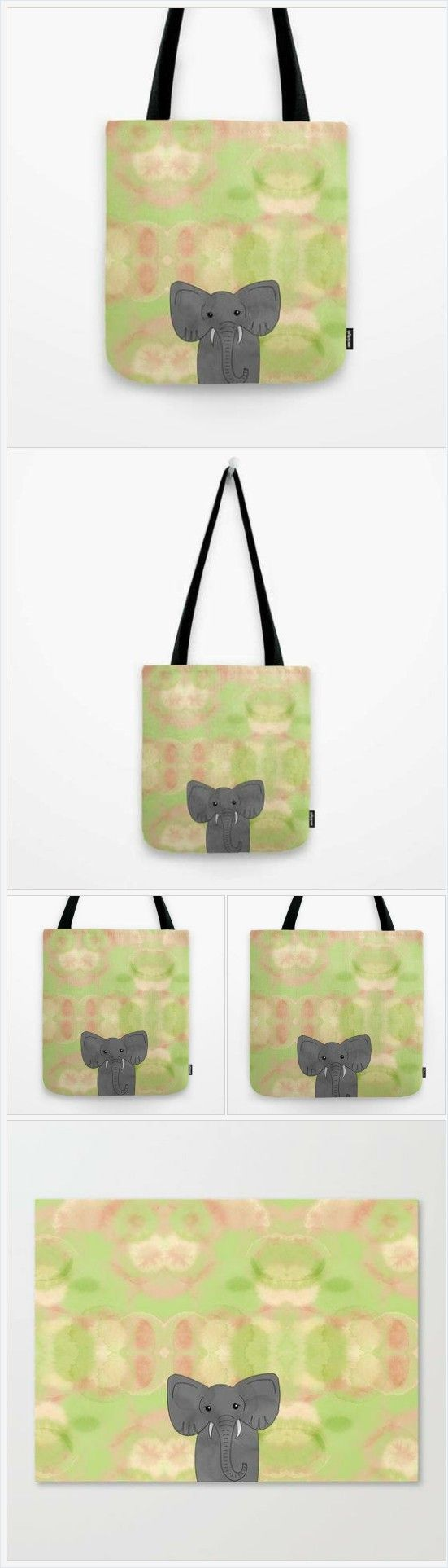 Elephant Tote Bag - Tote Bag - Green and Pink with Gray Elephant - Book Bag - Carry All Tote - Made to Order