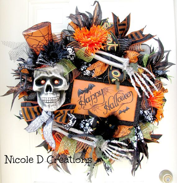 Halloween Wreath Skull and Bones Wreath Deco by NicoleDCreations