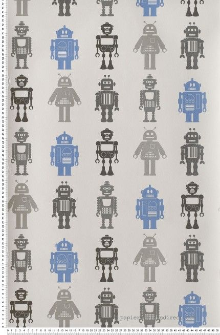 Robots Bleus et Gris - papier peint Lutèce
