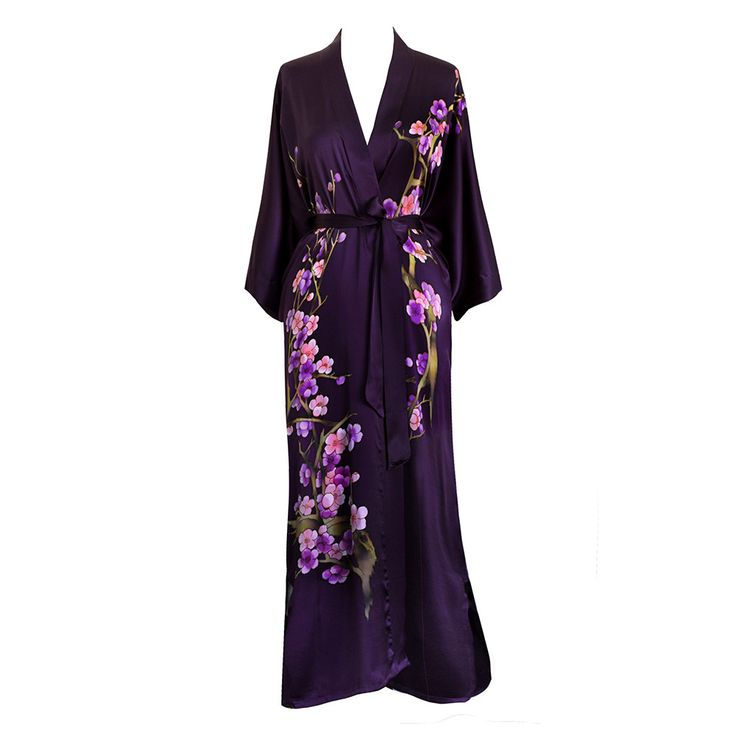 Silk Kimono Long Robe - Handpainted Cherry Blossom