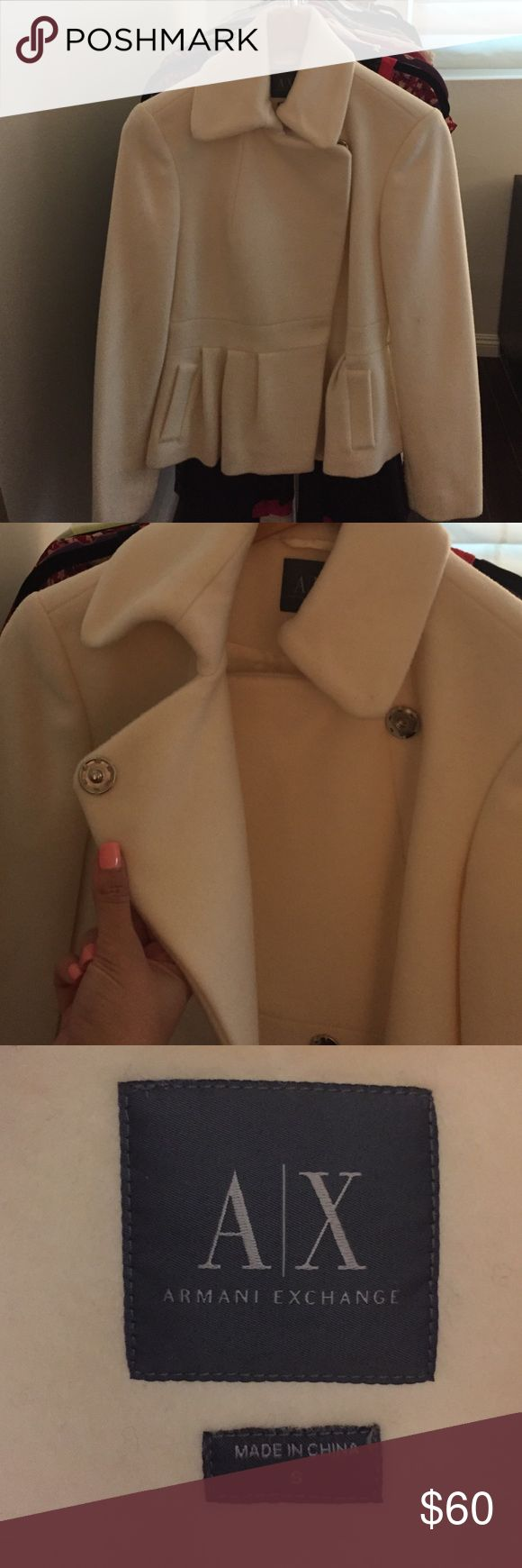 Winter white coat Winter white coat, by Armani Exchange - stylish and comfortable , sits right above hip line. Armani Exchange Jackets & Coats Pea Coats