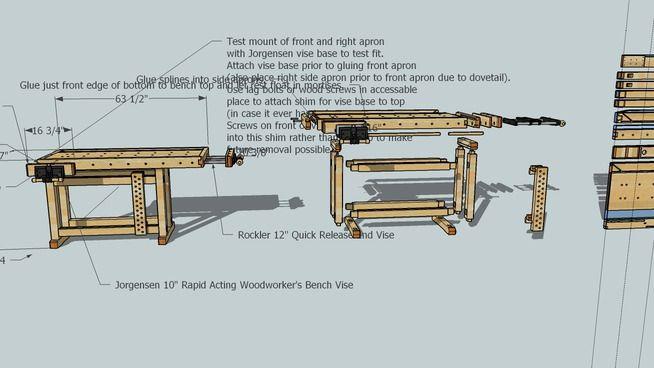 Большой предварительный просмотр 3D модели деревообрабатывающие скамейке