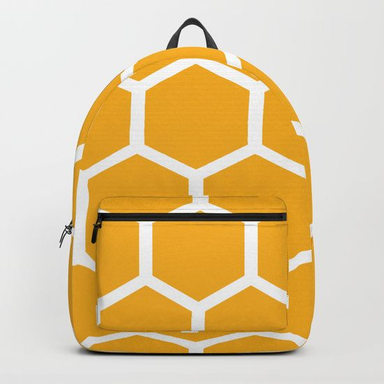 "Our Backpacks are crafted with spun poly fabric for durability and high print quality. Thoughtful details include double zipper enclosures, padded nylon back and bottom, interior laptop pocket (fits up to 15""), adjustable shoulder straps and front pocket for accessories. Dry clean or spot clean only. One unisex size: 17.75""(H) x 12.25""(W) x 5.75""(D). Back to school backpack #society6 #backpack #loveschool #backtoschool #school #honeycomb #geometrical #hexagons #bees #honey #cute #pretty"
