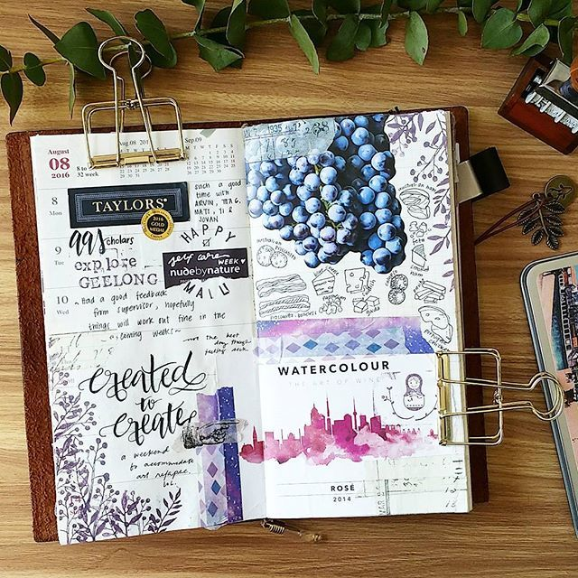 An obssession with wine and cheese on my #midoritravelersnotebook. ✏ Fyi, the…