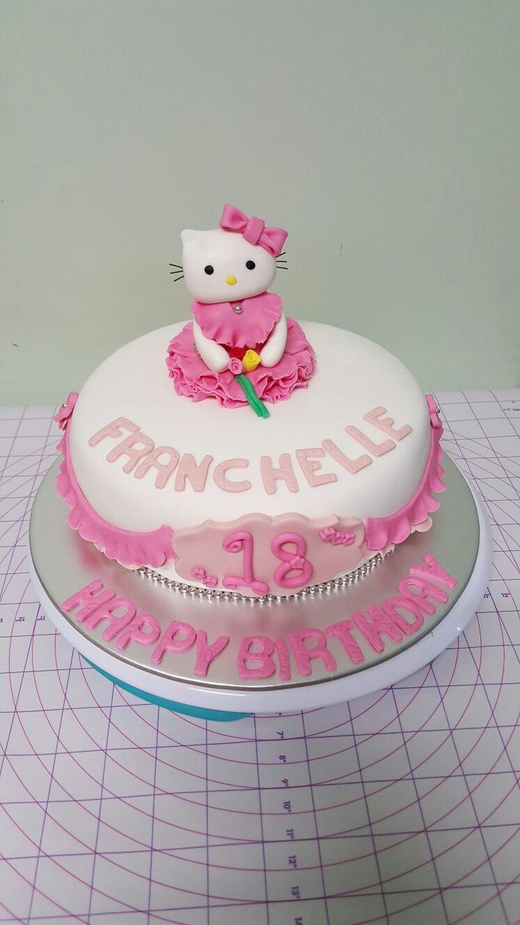 Hello kitty theme cake for 18th birthday