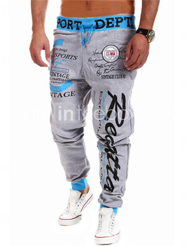 Hombre Activo Algodón Corte Ancho Corte Ancho   Activo   Holgado Pantalones  - Estampado   Letra   Deportes   Fin de semana  21acaa97ef1