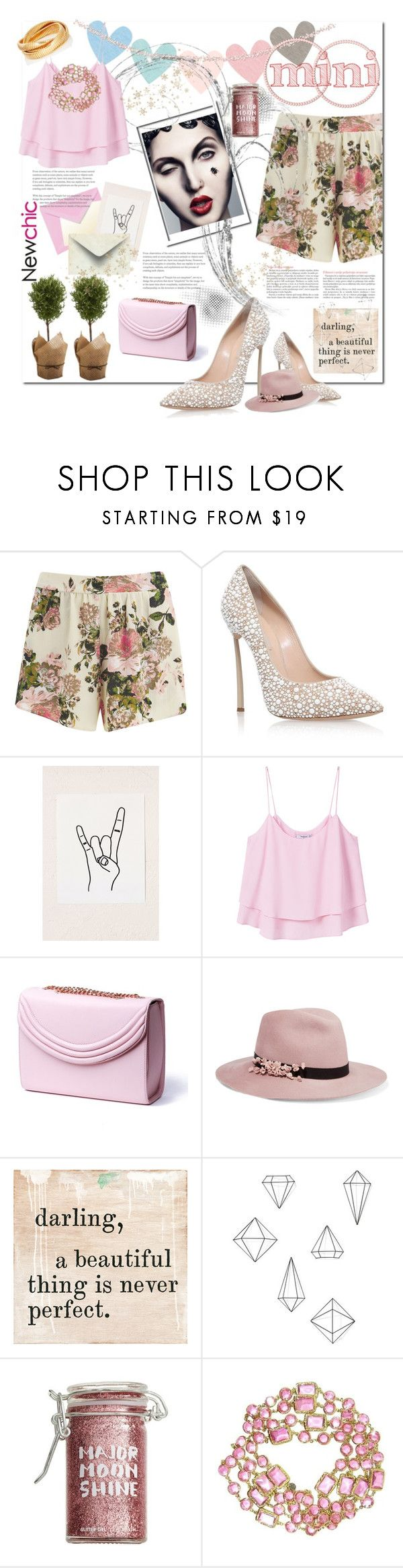 """""""pink it is"""" by luanna98 ❤ liked on Polyvore featuring Vila Milano, Casadei, Tema, Urban Outfitters, MANGO, Lauren Cecchi, Eugenia Kim, Umbra, Major Moonshine and Chanel"""