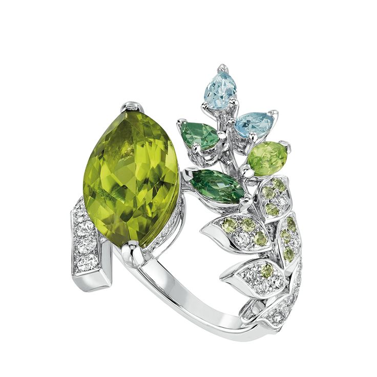 LesBlesDeChanel - 5.7 carat Peridot, Diamonds, Aquamarine, Green Tourmaline