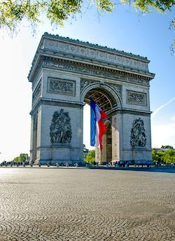 The Arc de Triomphe and the French Tricolor Flag in Paris, highlighting Bastille Day!