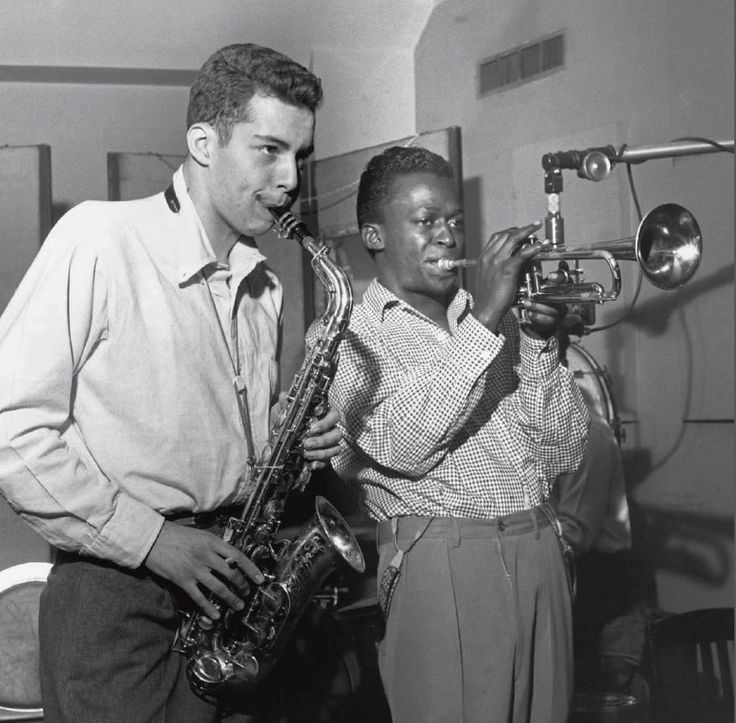 """postmanultrachic: """"Jackie McLean accompanies Miles during a Blue Note recording session at WOR Studios in New York City for the Miles Davis Sextet sessions on May 9, 1952. Francis Wolff """""""