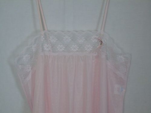 Vintage-Pink-Negligee-Lingerie-Nightgown-Sheer-34-36-Lace-53-Long