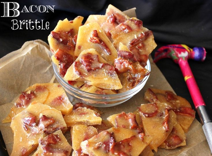 Bacon Brittle Recipe ~ Ohh yeah.. now this is a snack marriage made in sweet & salty Bacon heaven! That's right, Salty, Smoky, Candied Slabs of Crispy Bacon suspended in sweet & crunchy Brittle.