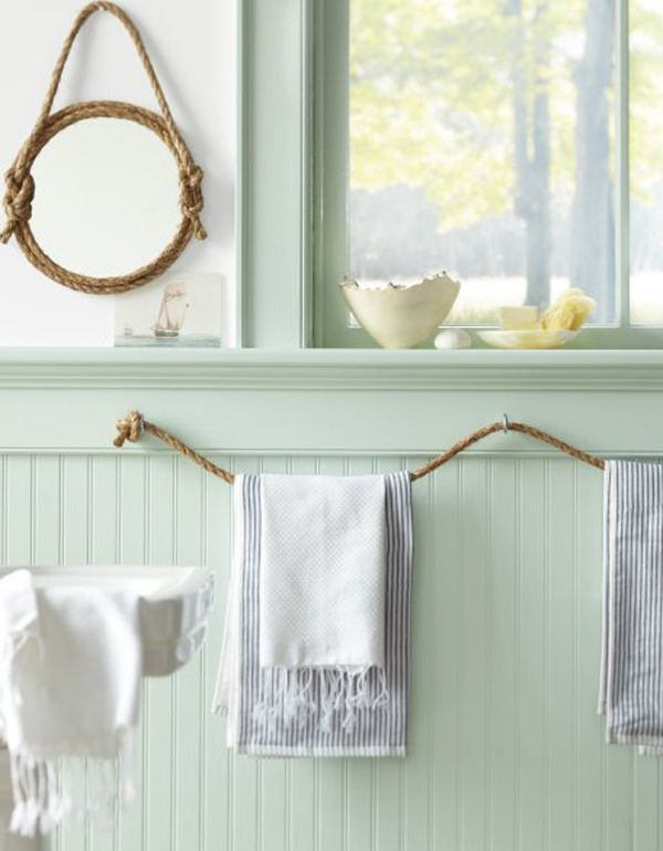 Rope Towel Rack And Mirror Frame This hint of green gets me every time.!