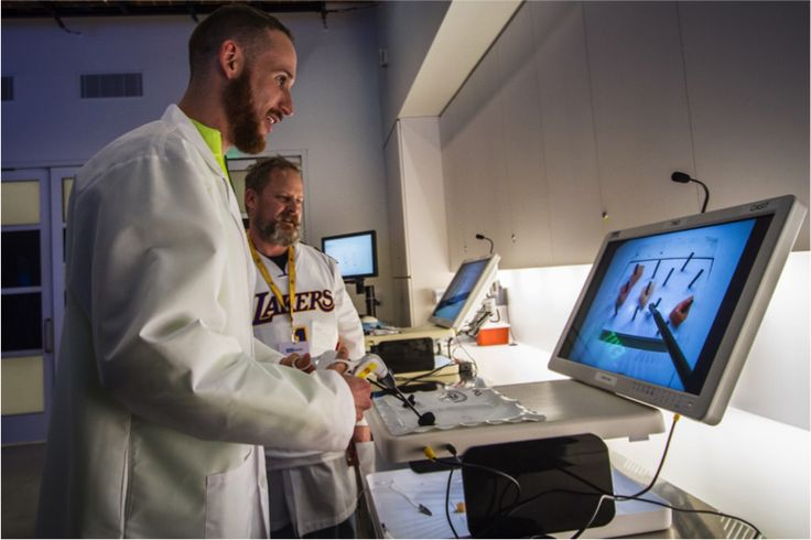 """""""The more you train, the more successful you can be,"""" says Marcelo Huertas, point guard for the Los Angeles Lakers. Marcelo, along with other players, came to visit Ronald Reagan UCLA Medical Center. During the visit, they had the opportunity to use the machines that allow UCLA Health physicians to practice their surgical skills. #TeamUCLALakers"""