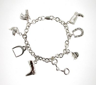 Silver Horse Bracelet with Charms.This stunning sterling silver riding charm bracelets is the ultimate horse lover's gift. $