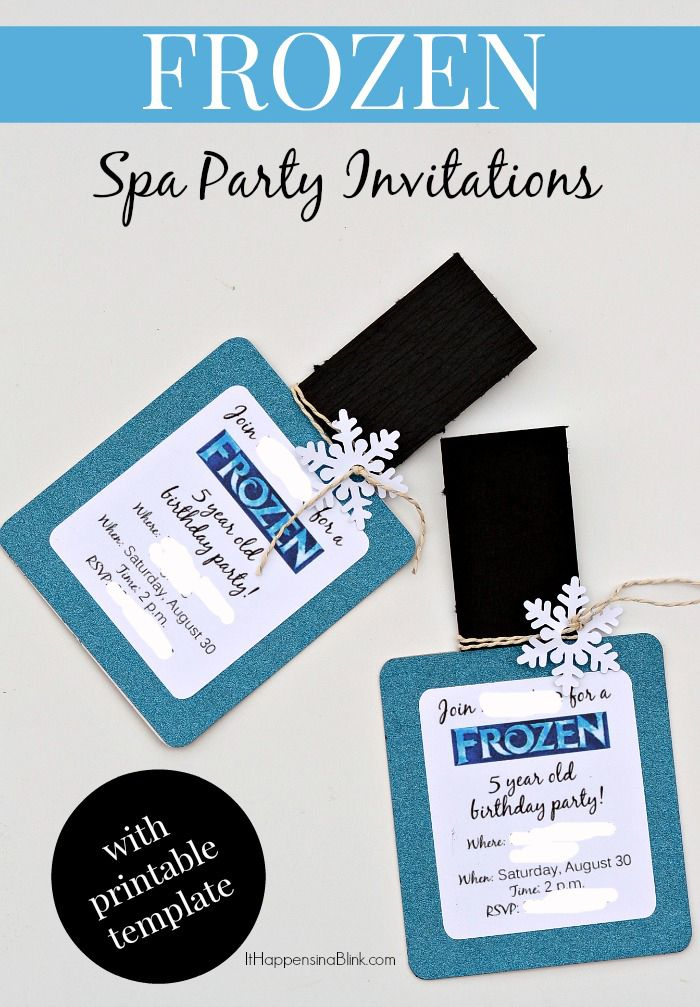 DIY your own FROZEN Spa Party Invitations. Includes a free SVG file for a Silhouette and a printable file for those without a cutting machine.