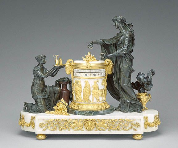 Mantel Clock, design attributed to Jean-Guillaume Moitte, clock case attributed to Pierre-Phillipe Thomire, c.1785.