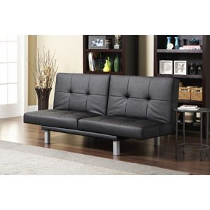 Contrast Piping Tufted Faux Leather Futon Sofa Bed Modern Futons