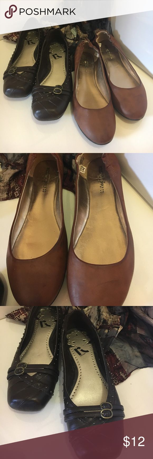 Bundled Brown Shoes! Report Dark Brown (7) with studs & buckles and simple Mossimo Supply Co. saddle brown classic flats (7 1/2). Both fit the same. Both all manmade materials. Both in very good used shape. Shoes Flats & Loafers