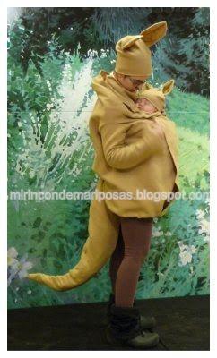 Este carnaval, aprovechando que me encanta llevar al peque bien pegadito, ¡nos hemos disfrazado de canguros!  Usamos: 2m de tela polar de co...