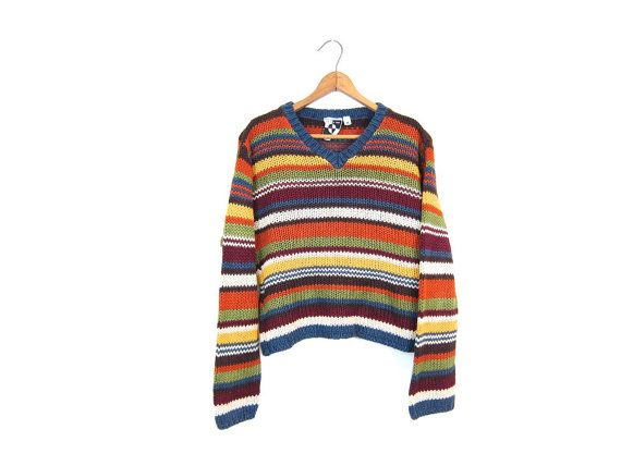 Cropped Knit Sweater Striped 90s Crop Top Colorful Yellow Red Green Orange Chunky Vneck Jumper Boho