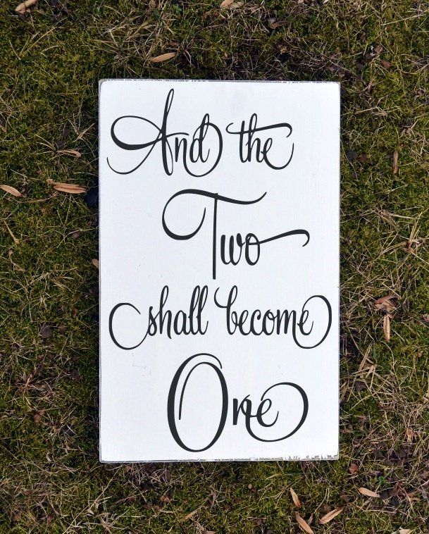 Wedding Sign Bible Verse Scripture Wall Art Wood Signs Engagement Gift The Two Shall Become One Unique Decoration Ideas Guest Book Table - The Sign Shoppe