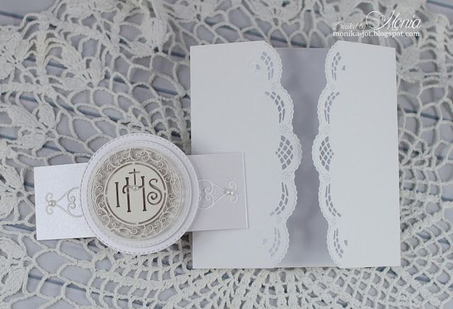 handmade First Communion card from My paper land ... gate fold with lacy edges ... luv the die cut medallion on the belly band ... Marianne dies