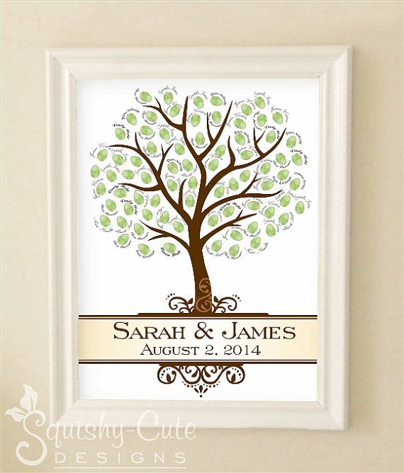 Fingerprint Tree Wedding Guest Book Personalized Printable Pdf Baby Shower Guestbook On Etsy
