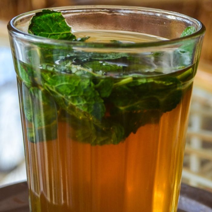 A refreshing floral and citrus-infused tea—the perfect way to end a meal of Syrian swimming pool food.