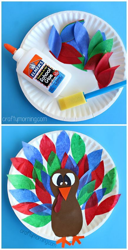 Paper Plate Turkey Craft using Tissue Paper - Easy Thanksgiving craft for kids to make | http://CraftyMorning.com