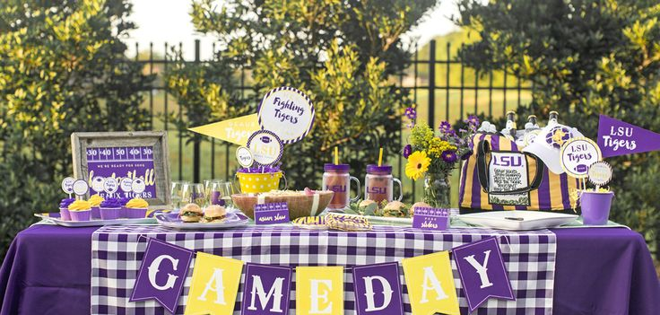 Food:Gourmet Girls;Baseball Caps:Ten Little Piggies, Etsy;Plastic wine glasses:Moneauxs, Etsy;Linens:Event Rental;LSU mason jars:Target. Photos by Tasha Creel.  The action isn't only on the field this football season—plenty of plays are made behind the scenes. This is especially true when it comes to tailgating. To score with friends and fans, it's fun to pay as much...