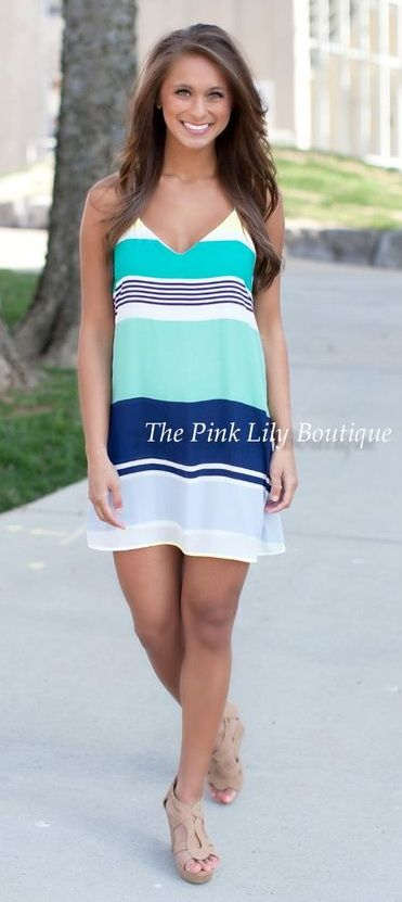Stuck On A Feeling Navy and Mint Dress - The Pink Lily Boutique