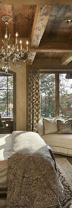 Rustic elegance . silver, wood tone, elegant chandelier, neutral bedroom