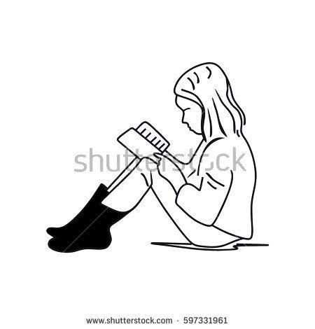 a little girl reading a book so cute