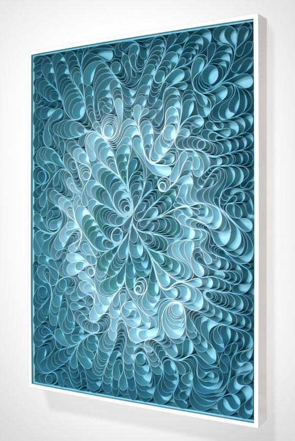 "Ocean blue and turquoise quilled art on canvas by Jason Hallman and Stephen Stum - photo via Joanne Artman Gallery in Laguna Beach, CA;   36"" x 48"""