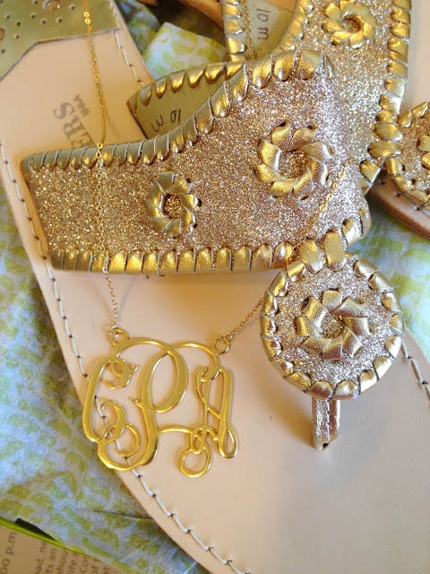 Gold Glitter Jacks and Monogrammed Necklace
